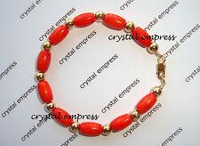 Feng Shui - Coral & Gold Kids / Baby Protection Bracelet