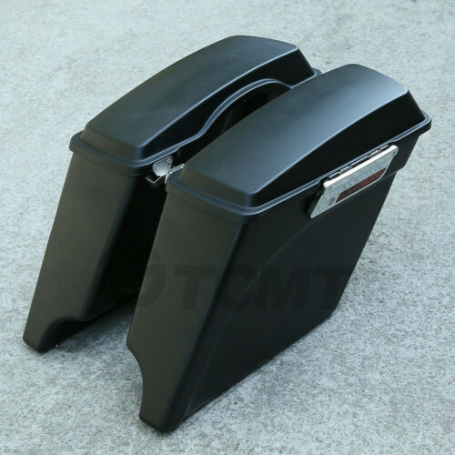 """Matte Black 5/"""" Stretched Extended Hard Saddle Bags For Harley Touring FLH 93-13"""