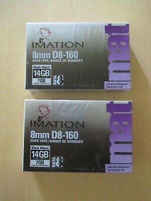 2 Imation 8mm D8-160 Data Tape Cartridge 14 Gb
