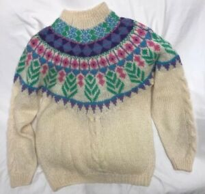 Forenza-Italy-Soft-Knit-45-Mohair-Sweater-Icelandic-Style-Womens-Size-Medium