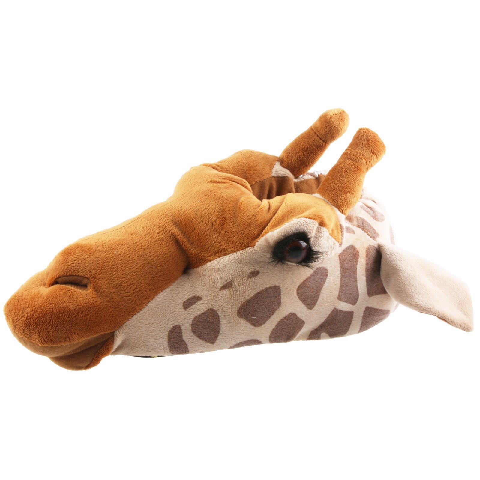 Giraffe Tier Hausschuhe Pantoffel Schlappen KuscheltierPl<wbr/>üsch Uni Braun 35-48