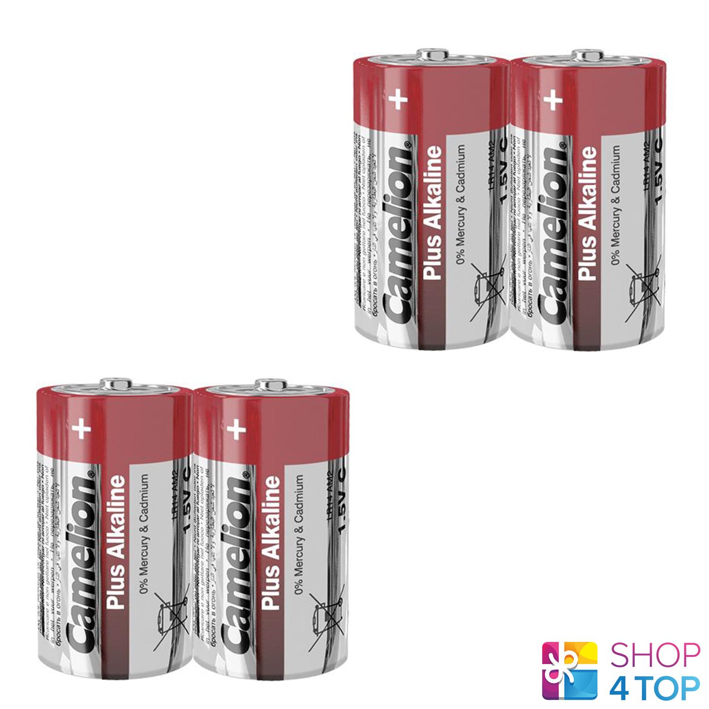 4 camelion C plus alkaline batteries lr14 mn1400 am2 e93 1.5v 2sh Exp 2027 new