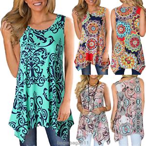 Women-Casual-Printed-Sleeveless-Shirt-Asymmetrical-Loose-Tunic-Blouse-Vest-Tops