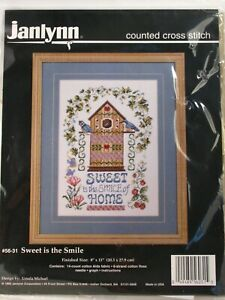 Janlynn-Counted-Cross-Stitch-Kit-Sweet-is-the-Smile-of-Home-56-31-Birdhouse-New