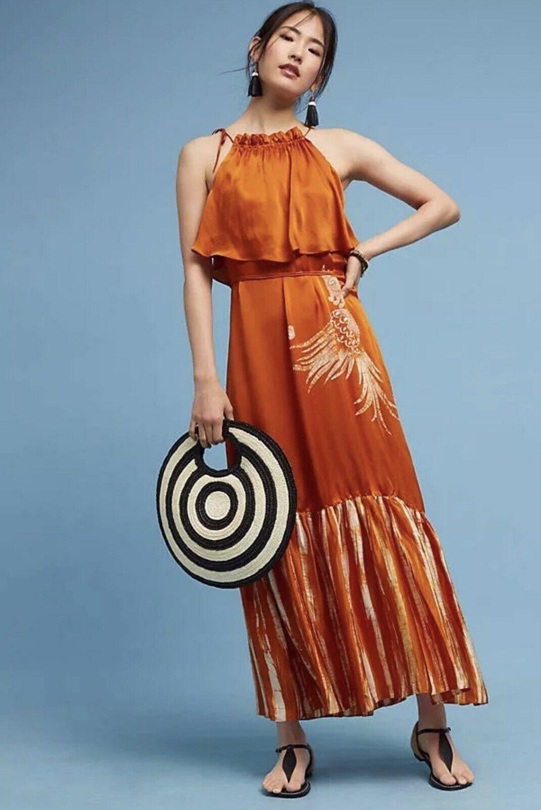 Anthropologie Isabella Silk Maxi Dress By Harare Orange Rust Größe Sz S Small