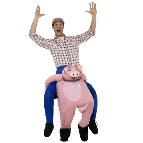 Adult Mens Ride a Pig Farmyard Animal Novelty Fancy Dress Stag Costume