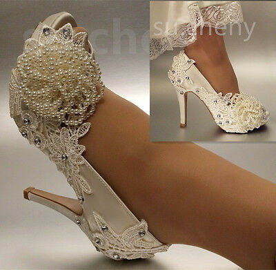 "3"" 4"" heel white ivory silk lace open toe Wedding shoes Bride size 5-9.5"