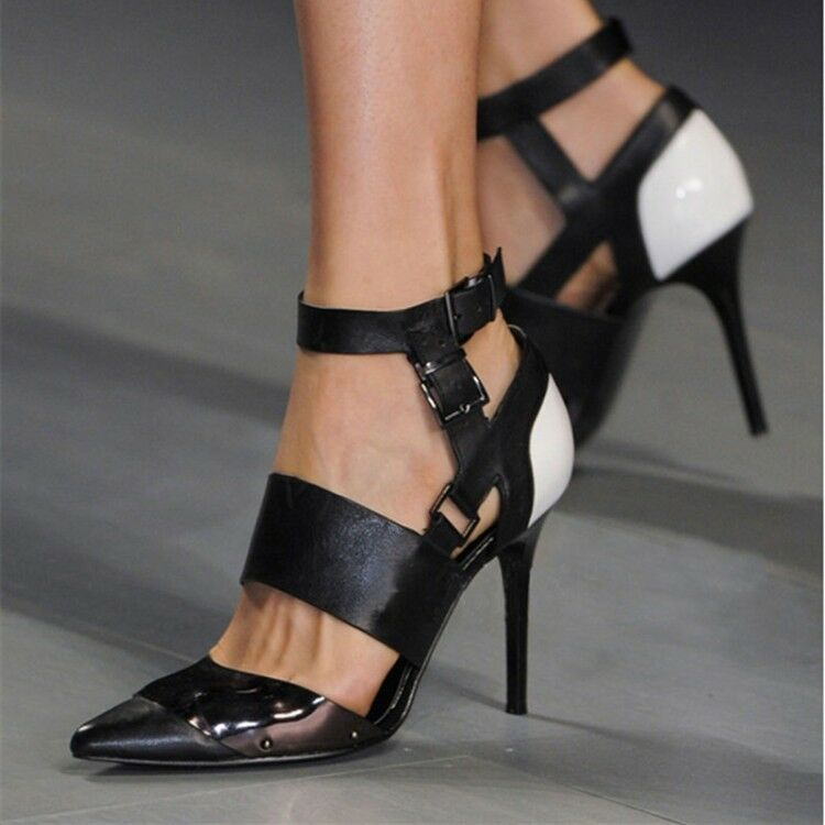 Casual Women's Pointy Toe Stilettos High Heels Buckle Strap Party shoes Sandals