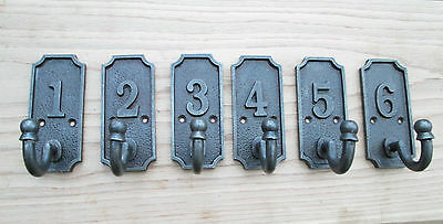 Set of 6  OLD VINTAGE VICTORIAN EDWARDIAN STYLE COAT HANGING HALLWAY HOOKS