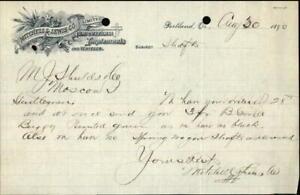 1890 Portland Oregon (OR) Letter Mitchell and Lewis Co. Mr. J. Shuldsleo Mitchel