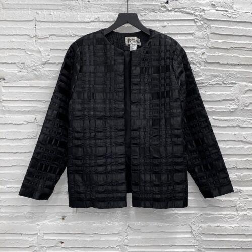 Vintage Tachi Castillo Black Woven Satin Jacket Wo