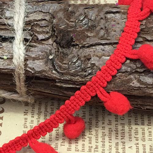 20yds 10mm Jumbo Ball Pom Pom Bobble Trim Hat Braid Fringe Ribbon Edging Crafts