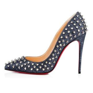 1a09d455a97f Image is loading Christian-Louboutin-FOLLIES-SPIKES-100-Studded-Heels-Pump-