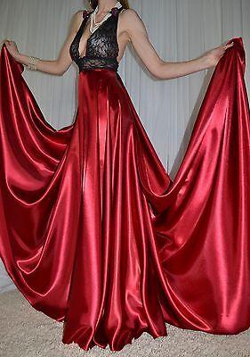VTG Satin Lingerie Slip Nylon Lace Negligee Full Sweep LONG Nightgown XL 1X  2X 257d64b1a