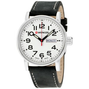Wenger Attitude White Dial Leather Strap Men's Watch 010341101 46928087396