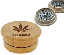 New Amsterdam Real Wooden Herb CNC Shark Teeth Tobacco Grinder 2 Parts Crusher