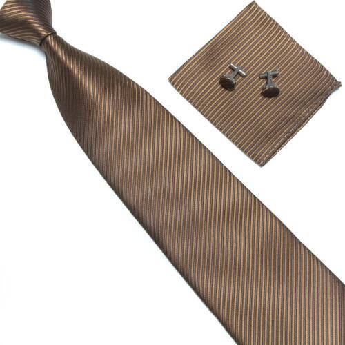 Neck Tie Set Classic 10CM Brown Striped Mens Ties Necktie Handkerchief Cufflinks