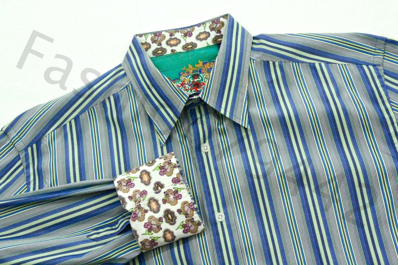 ROBERT GRAHAM Shirt Mens XL bluee Green Stripe Embroidery Trim Seahawk color Gift