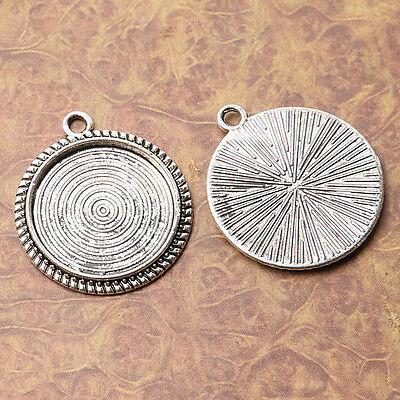 5pcs tibetan silver color round cabochon settings pendant in 23mm H0240