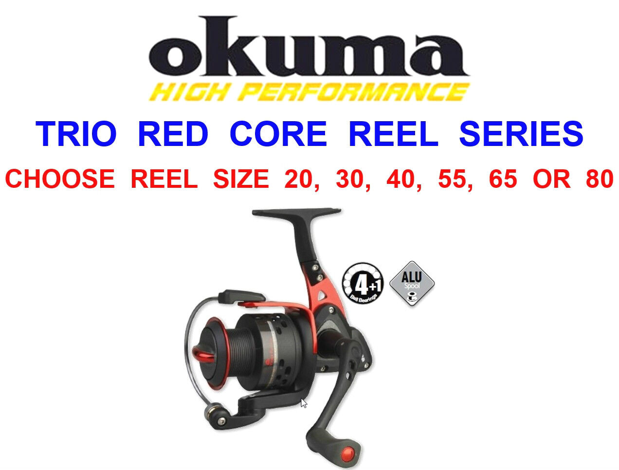 OKUMA TRIO RED CORE 80 REEL FOR SEA PIKE PREDATOR LURE SPINNING BASS ROD FISHING