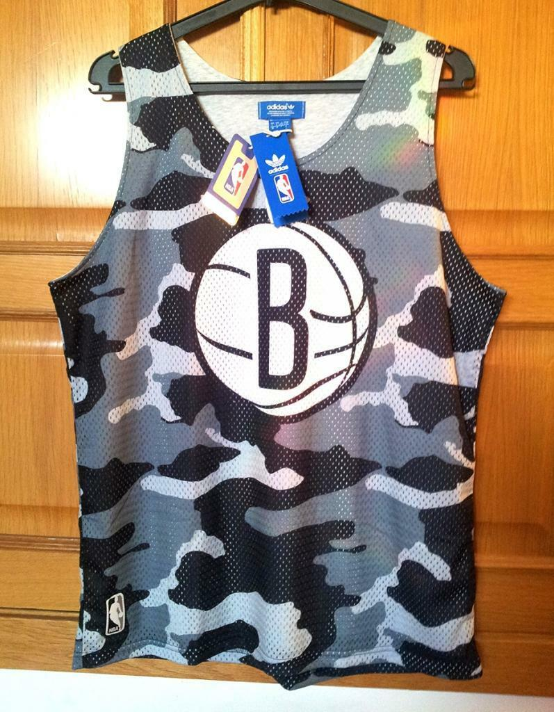 BROOKLYN NETS ADIDAS basket Training Shirt (Camouflage). Large, NEW WITH TAGS