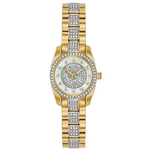 Bulova-Women-039-s-98L241-Quartz-Crystal-Accents-Gold-Tone-Bracelet-23-5mm-Watch
