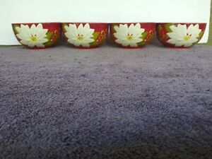 Laurie-Gates-Hisbiscus-Cereal-Bowls-Floral-5-5-034-Set-of-4