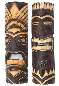2-Tiki-Masken-50cm-Hawaii-Holzmasken-Maske-Wandmaske-Wandmasken-Maui-Tribal