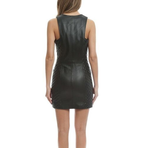 Women-Genuine-Leather-Quilted-Dress-Mini-Zip-Front-Sleeveless-Bodycon-LederDress