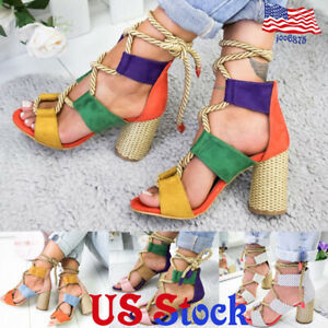 Women-039-s-Shoes-High-Heels-Colorful-Rope-Lace-Up-Block-Ankle-Strap-Chunky-Sandals