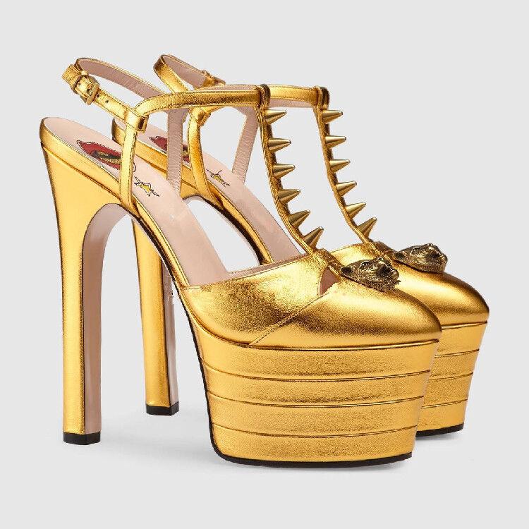 Chic Ladies High High High Heel Stiletto Metal Decro T-strap Platform Pumps Shoes Plus Hot b0f762