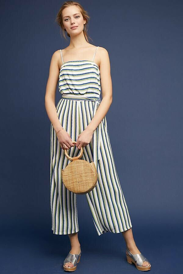 Anthropologie Maeve Meja Strapless Striped Jumpsuit Sz  Large L Wide Leg Crop