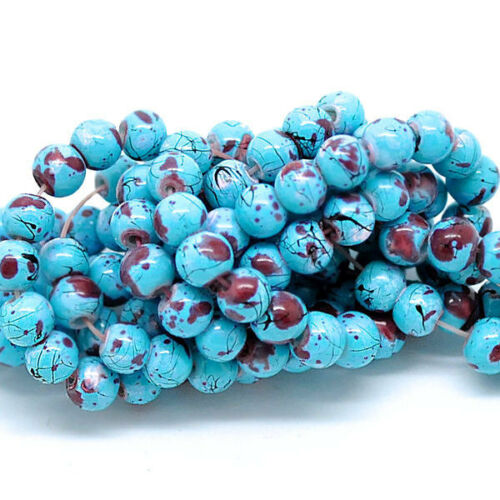 BD117 35 Glass Beads 6mm Beautiful Abstract Turquoise and Burgundy Tones
