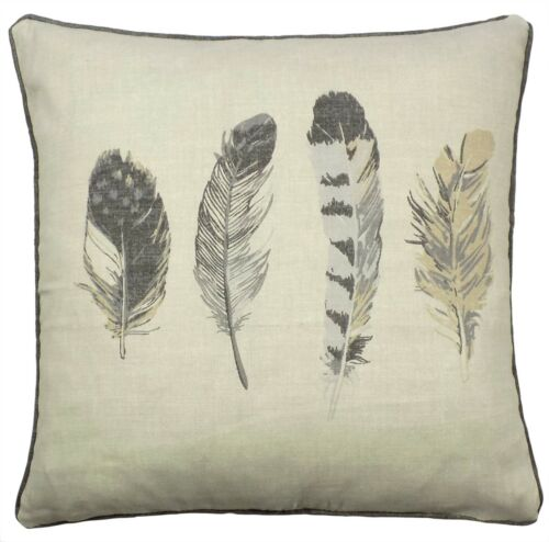 """FEATHER QUILL CHARCOAL GREY SILVER CREAM COTTON PIPED CUSHION COVER 17/"""""""