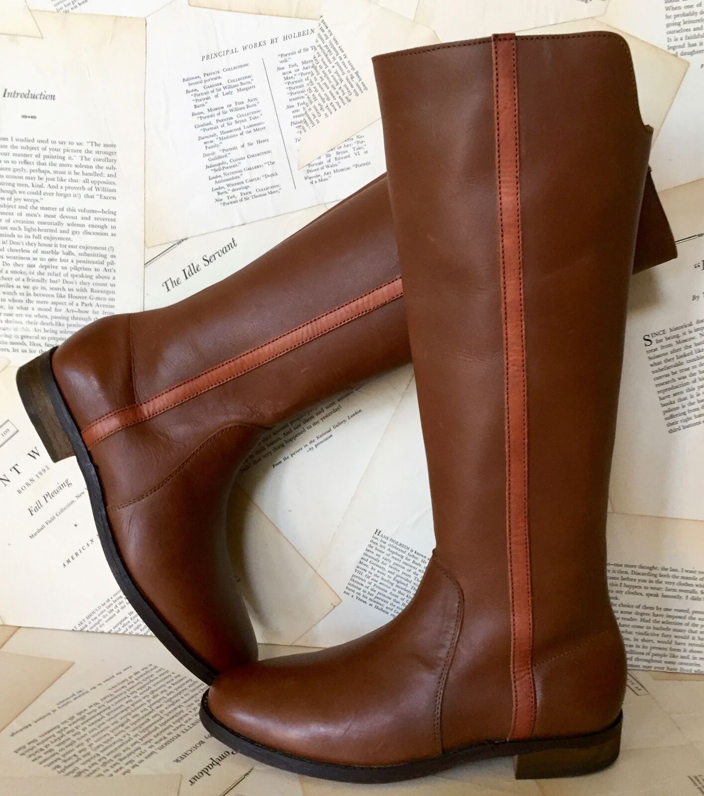 NEW Anthropologie Farylrobin Brown Leather Rust Stripe Pull On Riding Boots 6.5