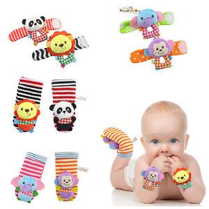 Baby Infant Cute Animal Wrist Foot Sock Rattles Soft Developmental Toys Finders