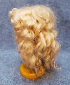 Antique-Vintage-Soft-Blonde-Mohair-German-French-Doll-Wig-Long-Curls-Wavy-Bangs