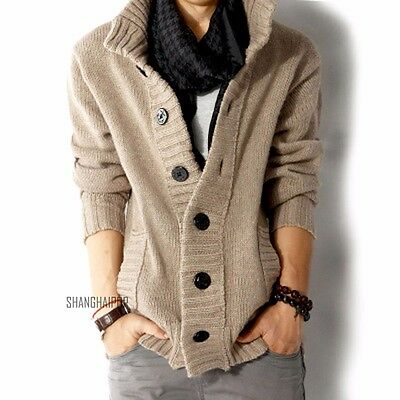 Men Cable Knitted Cardigan Chunky Jumper Sweater Long Sleeve Button Black/Blue