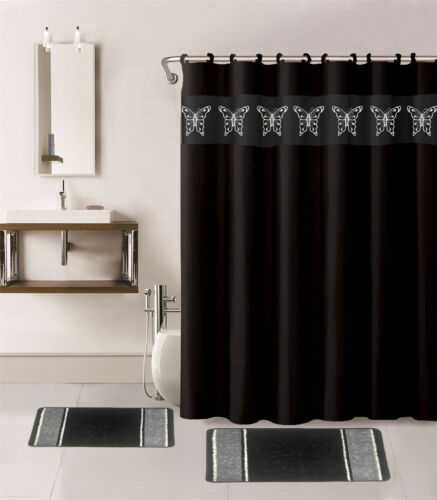 15PC BUTTERFLY PRINT BATHROOM SET 2 BATH MATS 1 SHOWER CURTAIN /& WITH RINGS NEW