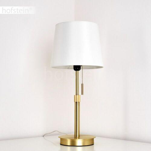 Vintage Lese Nacht Tisch Lampe goldfarben Wohn Schlaf Zimmer Leuchte Stoff weiß