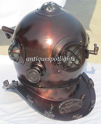 Nautical Deep Sea Metal Divers Helmet -US Navy Diving Helmet Dark Brown Antique