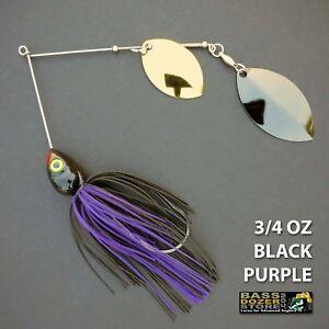Bassdozer-spinnerbaits-DOUBLE-OKLAHOMA-3-4-oz-BLACK-PURPLE-spinner-bait-lure
