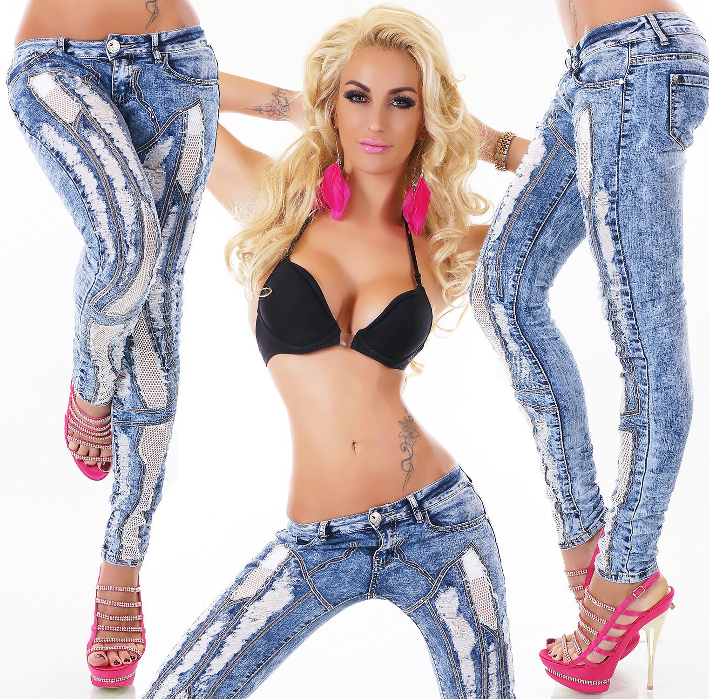 ORIGINAL Sexy Jeansröhre mit Rissen,Nieten Gr.32-42