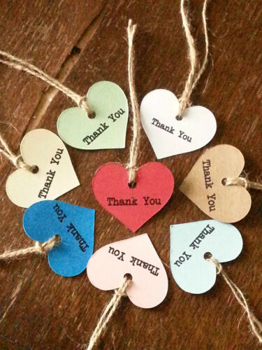 10 Vintage Style Heart Shape Tags /'Thank You/' Wedding Favours Bags /& Boxes Gifts