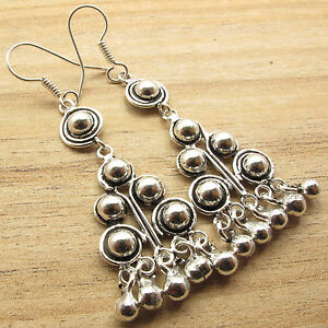 Beautiful-Beads-Beaded-ARTISAN-Earrings-Jewelry-Silver-Plated-Over-Solid-Copper