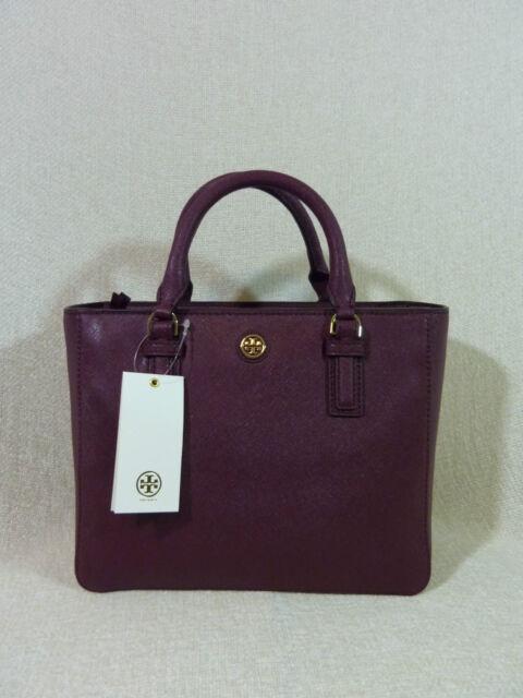 4dd1042f4572 Tory Burch 41159710 Saffiano Leather Robinson Mini Square Shiraz Tote Bag