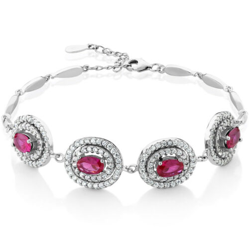 """Stunning 4.00 Ct Created Ruby 925 Sterling Silver Bracelet with 1/"""" Extender"""