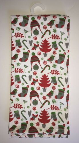 NEW Set of 2 Cynthia Rowley Christmas kitchen towels penguins trees stockings
