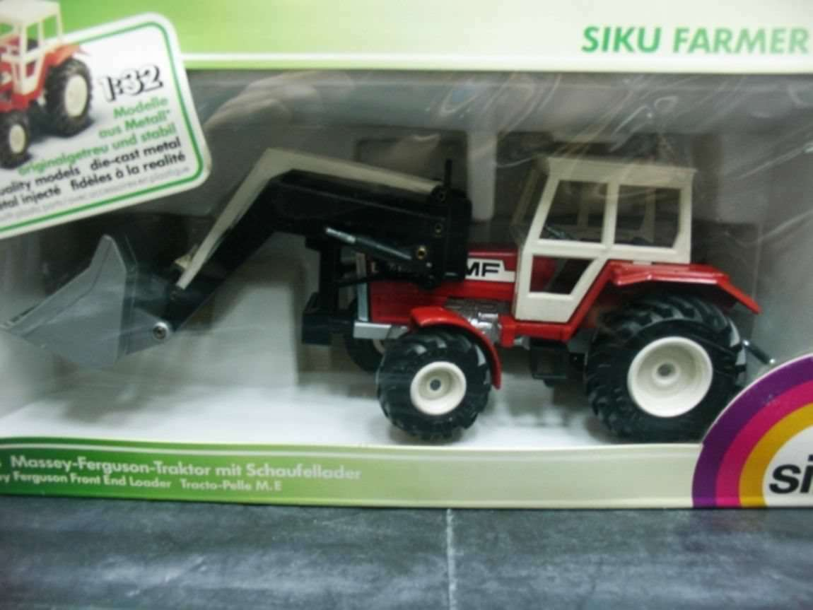 WOW EXTREMELY RARE Massey Ferguson Tractor 284S w  Excavator Red 1 32 Siku