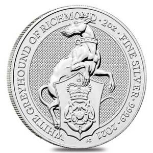 2021-Great-Britain-2-oz-Silver-Queen-039-s-Beasts-White-Greyhound-of-Richmond-Coin